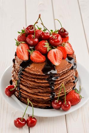 Huge portion of brown pancakes