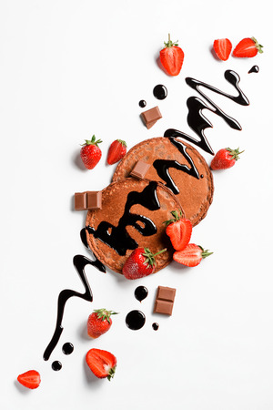 Pancakes with fruits and chocolate Stockfoto