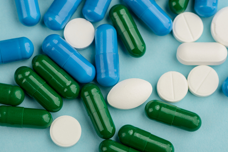 Close up on different pills Stock Photo
