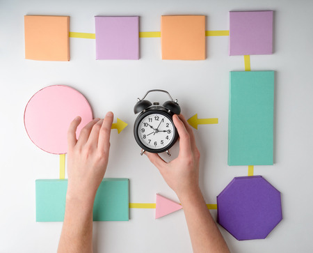 Hand put an alarm clock on a colorful paper flowchart, flat lay. Creative concept of time management.