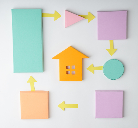 Steps to buy a house. Cute 3D flow process chart made of color paper on white background.