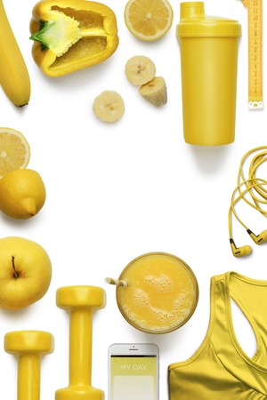 Yellow food and fitness attributes Stock Photo
