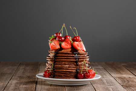 Pile of perfect chocolate pancakes