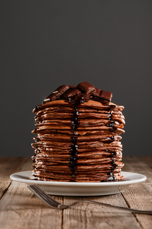 Tall stack of hot pancakes