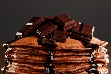 Chocolate pieces on pancakes