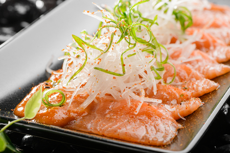 Close up on salmon sashimi 写真素材