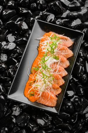 Salmon sashimi with daikon