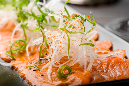 Close up on salmon carpaccio