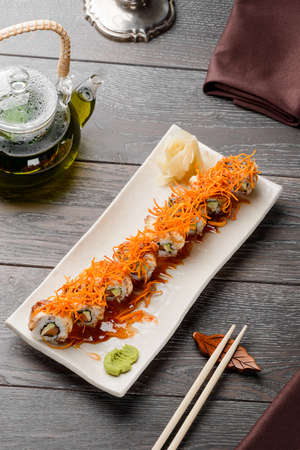 Delicious maki rolls on white Standard-Bild