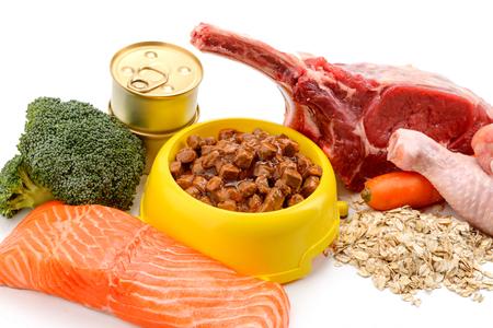 Ingredientes y comida húmeda para gatos Foto de archivo