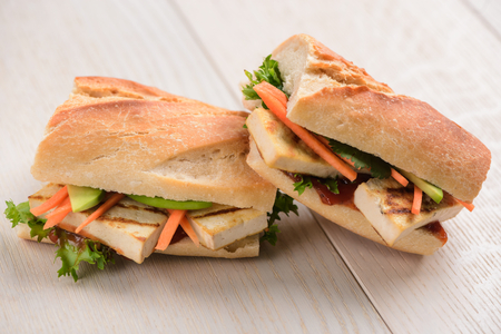 Vegetarian baguette sandwiches Фото со стока