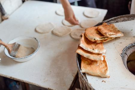 Freshly baked turnovers with scallion