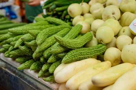 Bitter melon and white squash Stock Photo