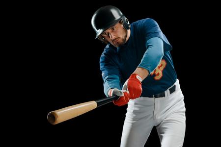 Wooden bat in hitters hands