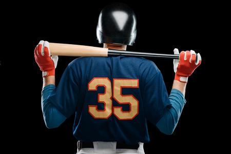 Back view on baseball player