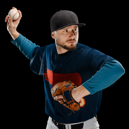 Baseball pitcher making a throw Stock Photo