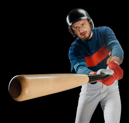 Powerful swing of a hitter