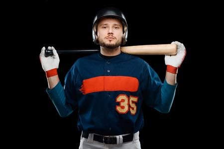Professional baseball player on black