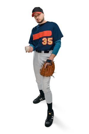 Baseball player holding a ball