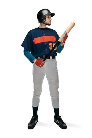 Confident baseball player on white