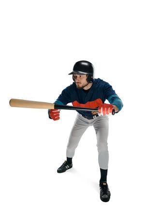 Baseball player facing a ball