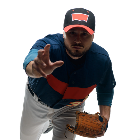 Player made a pitch Stock Photo