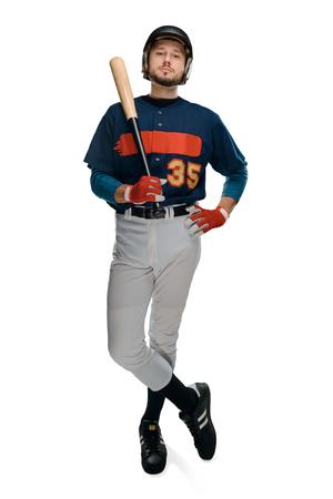 Baseball batter on white background. Фото со стока