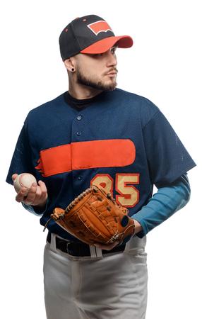 Baseball player on white background Stock Photo