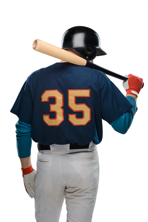 Back view on baseball player