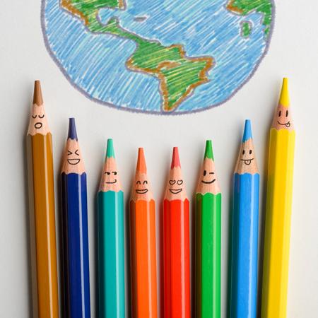 Happy pencils drew planet Earth 写真素材