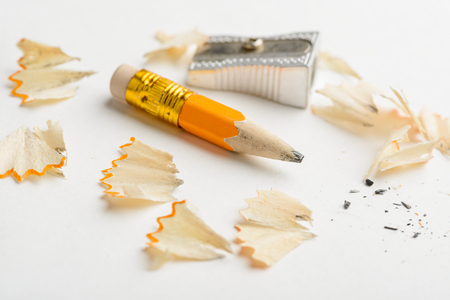 Used pencil, sharpener and shavings