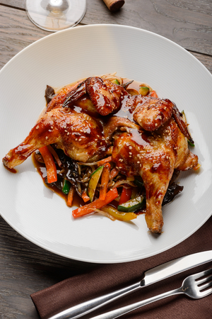 Broiler chicken with vegetables