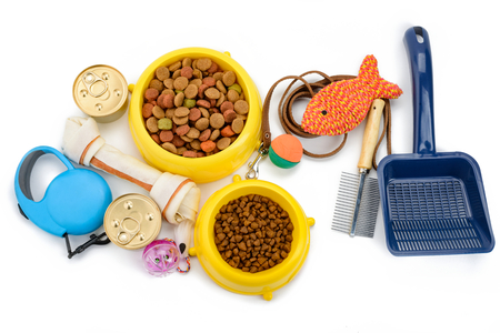 Pet products on white background