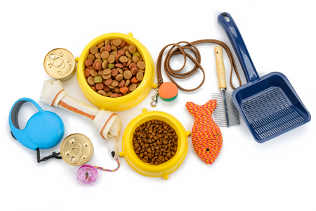Pet supplies on white background Imagens