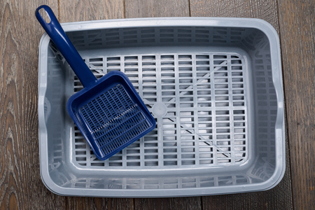 Litter box with a scoop Stock Photo