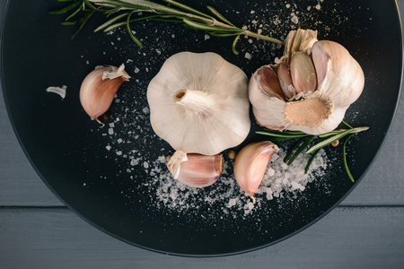 Garlic, sea salt and rosemary