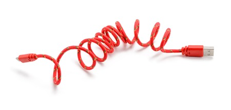 Red USB cable on white Stock Photo
