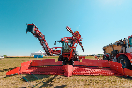 Red harvester on exhibition Stock fotó
