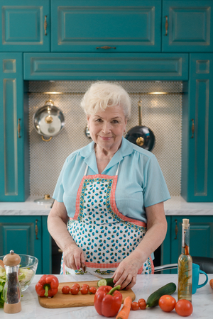 Portrait of an old housewife Stock Photo