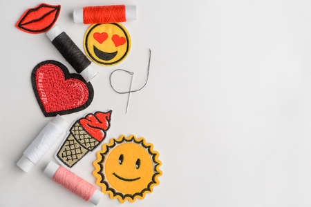 Emoji embroidered patches
