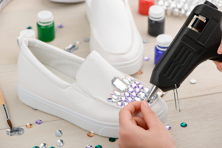 Customization of shoes with rhinestones