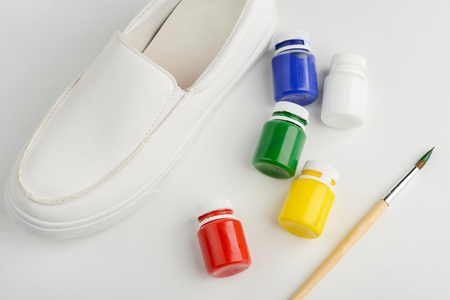 Blank shoe and paint Stock Photo