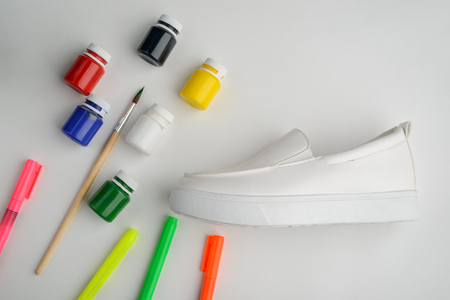 Painting leather shoes