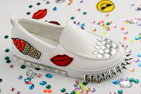 Slip-on shoes with rhinestones