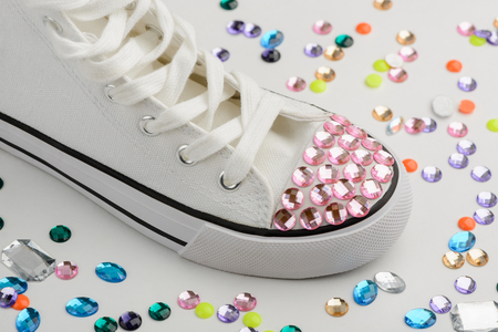 Bedazzled sneakers refashion