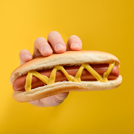 Hand holding a hot dog
