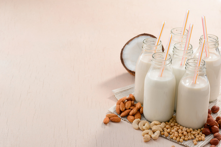 Different vegan milks and ingredients