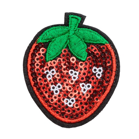 Strawberry sequin patch Stock Photo