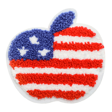 Apple with United States flag Stock Photo