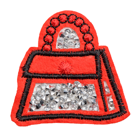 Bag with rhinestones fabric patch